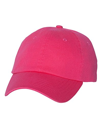 Valucap - Adult Bio-Washed Unstructured Cap - VC300A-Neon Pink-Adjustable
