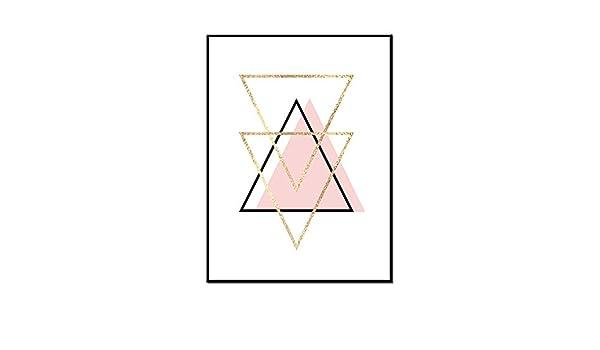 DLJJJBYE Triángulo Rosa Mural Lienzo Abstracto Geométrico ...