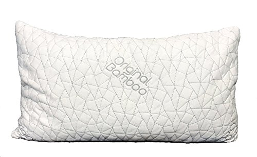 Original-Bamboo-Pillow-DIAMOND-SERIES-StandardQueen-Removable-Cooling-Shredded-Memory-Foam-Adjustable-Loft-Back-Side-or-Stomach-Sleeper-Cool-Sleeping-Bed-Pillows-Washable-Hypoallergenic