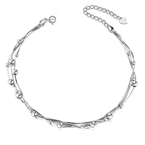 SHEGRACE 925 Sterling Silver Triple Layered Chain Anklets/Bracelet with Tiny Beads for Casual -