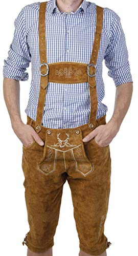 BAVARIA TRACHTEN German Lederhosen Men The Original from Germany - Authentic German Octoberfest Outfit/Costume Genuine Leather – Excellent Stitching & Details Brown -