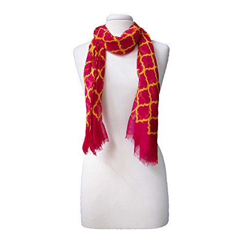 Tickled Pink Women's Vibrant Royal Lightweight Oblong Scarf, Crimson & Gold One Size