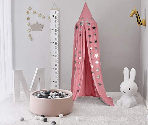 Dix-Rainbow Princess Bed Canopy Net for Kids Baby Bed, Round Dome Kids Indoor Outdoor Castle Play Tent Hanging House Decoration Reading Nook Cotton Mauve Rose by Dix-Rainbow (Image #1)