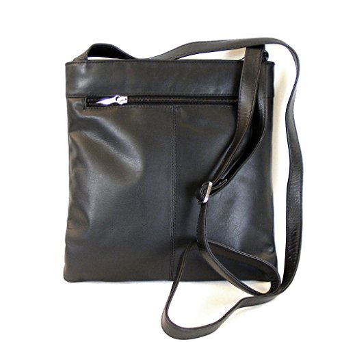 Pavini Damen Tasche Crossovertasche Classics Leder schwarz 9845 Reißverschluss