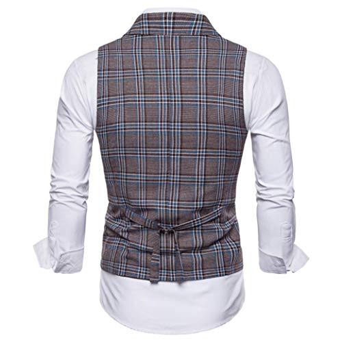 Suit Casual DAYSEVENTH British coffee MEN Striped 5 Vest Blouse Coat Jacket Clearance Button Sleeveless Printed Plaid Men TOPS FHrx0wnF