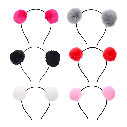 Coobbar 6Pcs Cute Faux Fur Pom Balls Headbands Girls Hairbands Bath Spa Make up Headbands for Women