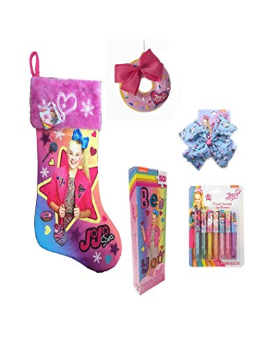 Jojo Siwa Plush Cuff Christmas Theme Stocking Gift Set -7 FLAVORED LIP GLOSS,3