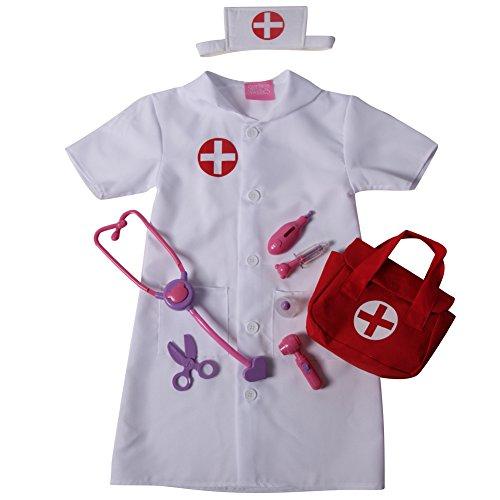 Girls Nurse Pretend Play Complete Dress Up Set - Dress & First Aid Bag, Size -