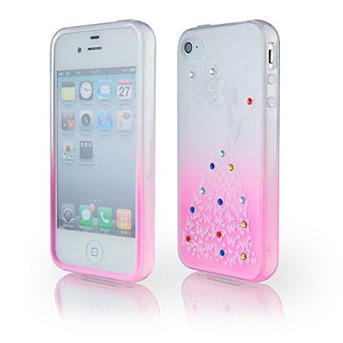 handy-point Glitzer Lady schattierte Silikonhülle mit Schmetterlingen und Straßsteinchen Gummi Silikon Hülle Handyschale Handyhülle Schutz Schutzhülle Gummihülle für iPhone 4 4G 4S Pink