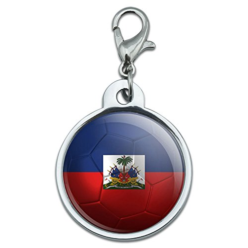 Graphics and More Plated Metal Pet Small ID Dog Cat Tag Soccer Futbol Football Country Flag A-I - Haiti Flag Soccer Ball Futbol