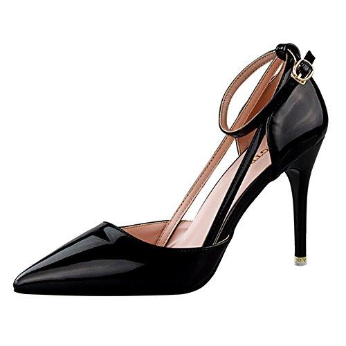No.66 Town Women's Fashion PU Ankle Strap D'Orsay Pump Court Shoes Black Gt2u59pu