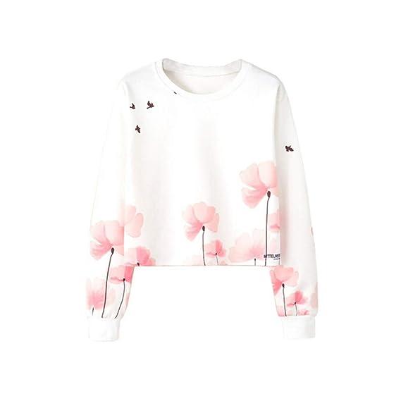 Longra♀ 2018 Las Mujeres del otoño de Moda Manga Larga Camiseta Impresa Blusa Tops Camiseta: Amazon.es: Ropa y accesorios