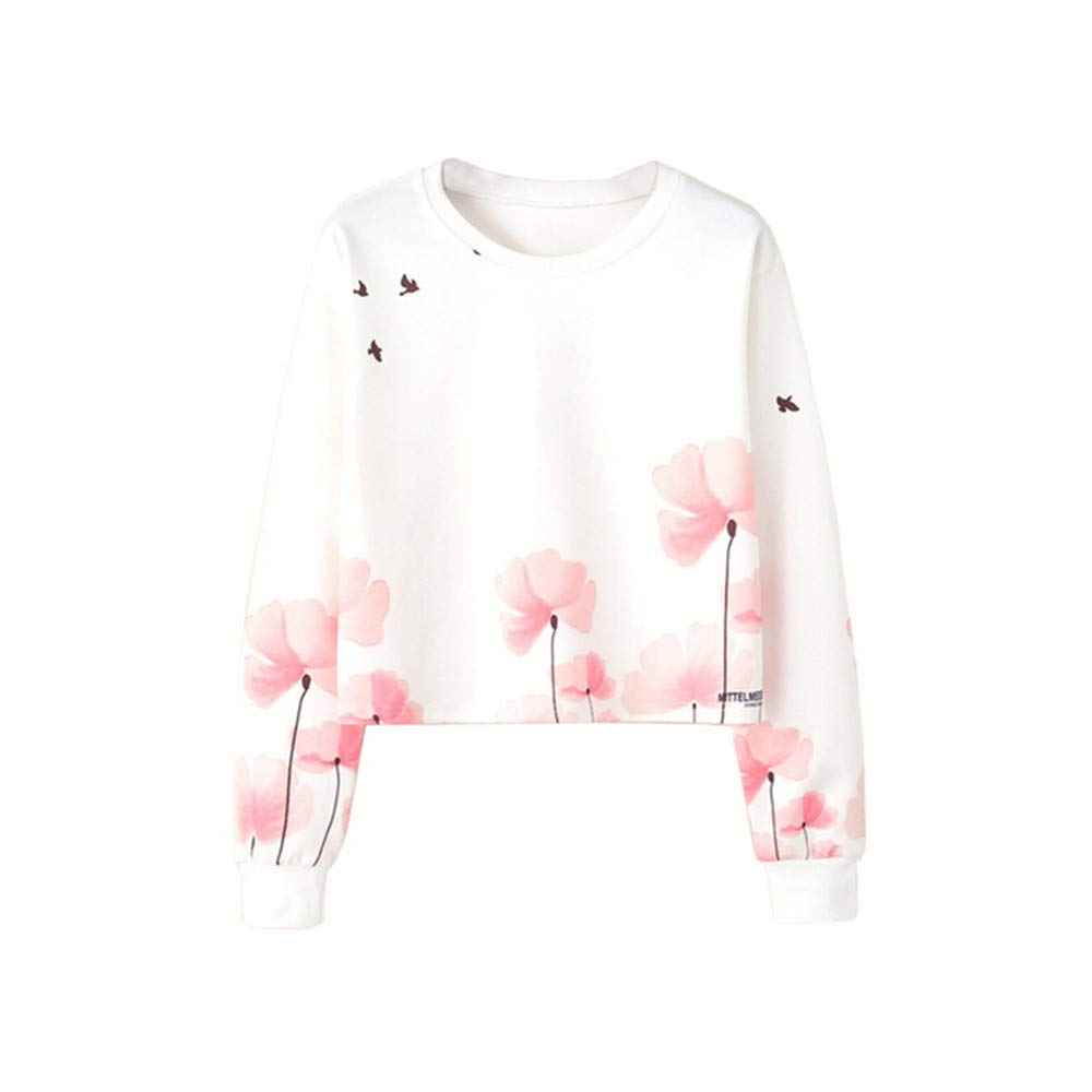 Maonet Women Autumn Printed Blouse Long Sleeve Fashion Tops Sweatshirt (S, White)
