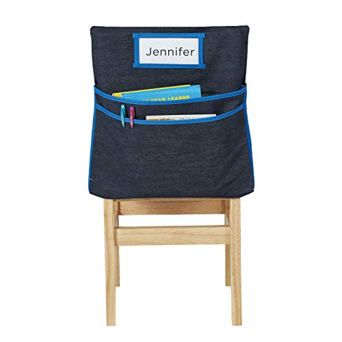 - ECR4Kids Classroom Seat Companion with Name Tag Slot, Kids School Supply Chair Pocket Organizer for Classroom/Daycare/Homeschool, Standard