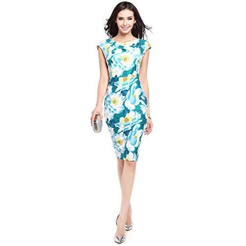 GWELL Elegant Damen Blumen Kleider Etuikleid Cocktailkleid ...