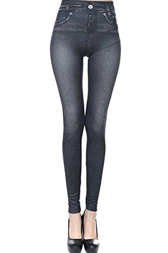 De Longueur Les Black Denim Jeans Slim Un De En Femmes Jambires Pleine Faux TqxHSASwz