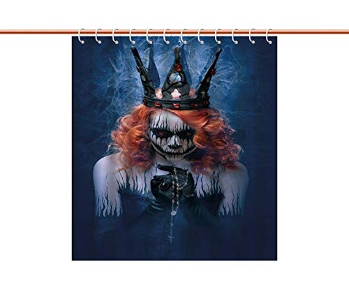 iPrint Mildewproof Shower Curtain [ Queen,Queen of Death Scary Body Art Halloween Evil Face Bizarre Make Up Zombie,Navy Blue Orange Black ] Polyester Fabric Bathroom Shower Curtain Set with Hooks