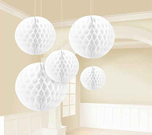 Sorive Pack of 5pcs Mixed Size White Tissue Paper Honeycomb/Paper tissue pom-pom ball Assortment, Hanging Honeycomb Tissue Lime Value Pack Party Accessory,Special gift for Christmas day