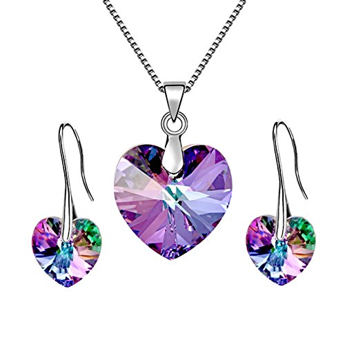 Les Bohémiens Iridescent Blue or Purple Angel Heart Pendant Necklace Earring Jewelry Set for Women Made with Swarovski Crystals - Box, Card, Envelope Included for Easy Gifting (Vitrail Light) ()
