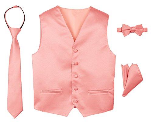 Spring Notion Boys' 4-Piece Satin Tuxedo Vest Set 8 Peach ()