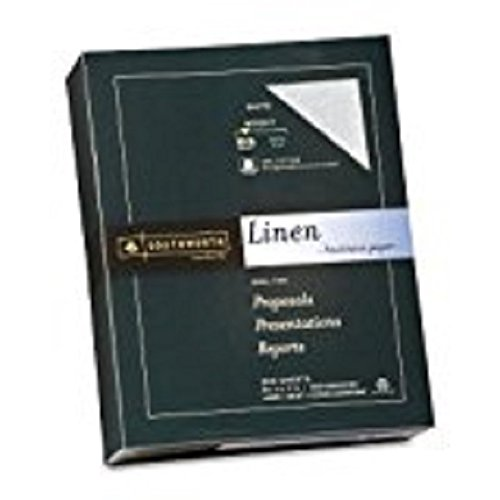 25% Cotton Linen Business Paper, Ivory, 24 lbs., 8-1/2 x 11, 500/Box, FSC, Sold as 1 Ream
