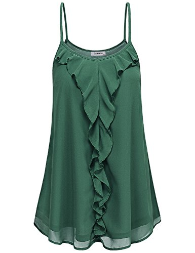 Sleeveless Blouse, Womens Cami Tank Top Sexy V Neck Sleeveless Ruffle Embellished Trapeze Spaghetti Strap Chiffon Tunic Shirts Mini Sun Dresses Dark Green XL
