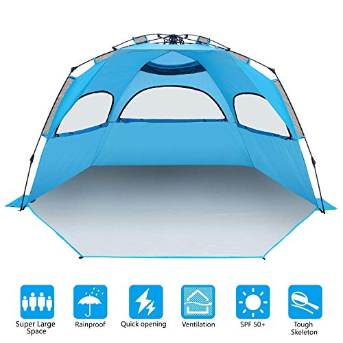 BATTOP Instant Beach Tent Sun Shelter – Easy Pop Up Sun Shade for Beach (Adult)