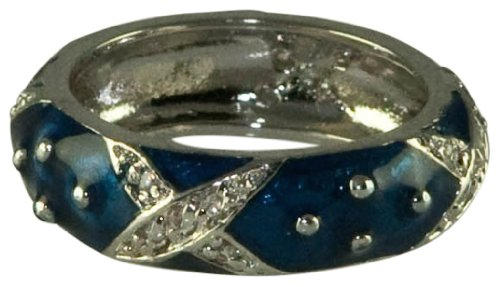 - NAVY ENAMEL STACK RINGS-W/PAVE SILVER