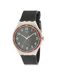 Swatch Men's Red Wheel YWS417 Black Rubber Swiss Quartz Watch