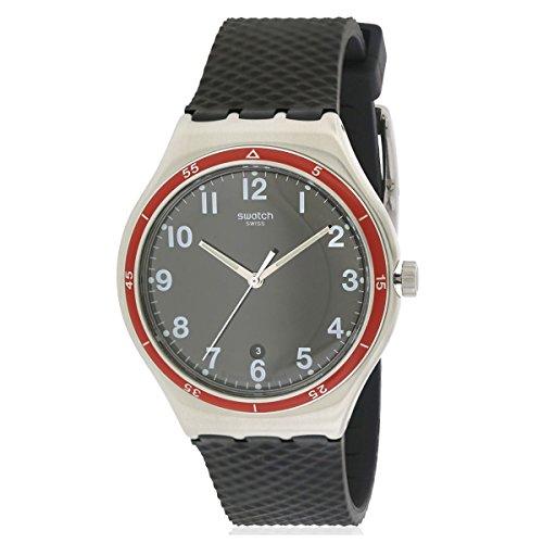 Swatch Men's Red Wheel YWS417 Black Rubber Swiss Quartz Watch - Wheel Watch