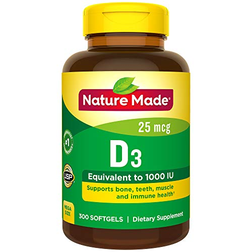 Nature Made Vitamin D3 1000 IU (25 mcg) Softgels, 300 Count for Bone Health† (Packaging May Vary) (Natures Made Vitamin D)