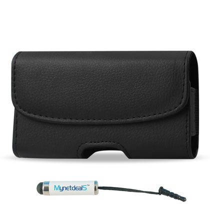 Horizontal Leather Case for Kyocera Torque/ Nokia X+/ X/ LG Optimus Zone 2/ BLU Neo 3.5 - with Magnetic closure with belt clip and belt loops (Plus Size will Fit w/ Otterbox Commuter on) + MYNETDEALS Stylus