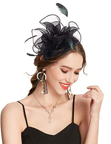 Z&X Fascinator Hat Flower Feathers on Headband and Clip Tea Party Headpiece for Ladies Girls - Head Fancy Horse