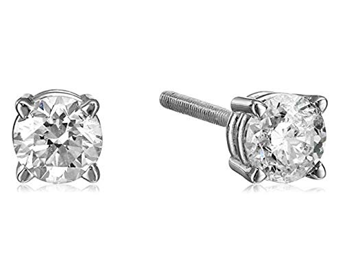 (14k White Gold Diamond with Screw Back and Post Stud Earrings (1/3cttw, J-K Color, I2-I3)