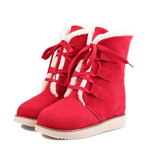 Snow Bootie Up Short Boots Shoes Ladies Red Warm Womens Martin Lace Winter Boots PgFwqqxO8
