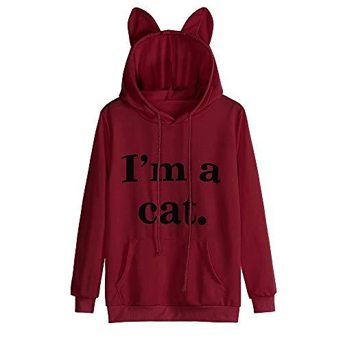 Sunhusing Ladies Cute Cat Letters Long Sleeve Printed Cat Ear Hooded Sweatshirt Pullover Top Blouse -