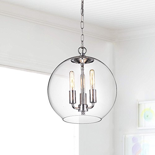 Jojospring Luna Chrome Finish 3-Light Clear Glass Globe Iron Pendant Chandelier