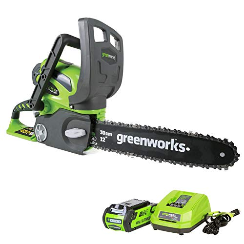 Greenworks 12-Inch 40V Cordless Chainsaw, 2.0 AH Battery Included 20262 (Renewed)