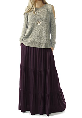 Stretch Waist Skirt - TRENDY UNITED Women's Bohemian Style High Waist Shirring Ruffle Pocket Skirt (S0059-DWNE, L)
