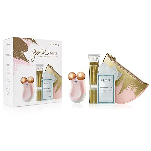 NuFACE Gold mini Express Skin Toning Collection | Wrinkle Reducer, 5 Minute Microcurrent Facial | Kit Includes Device, 24k Gold Gel Primer, Facial Wipes & Travel Bag  |  FDA Cleared At Home System