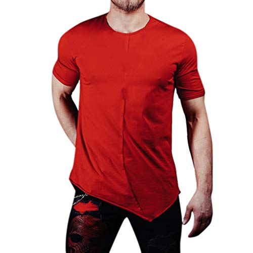 Mens Pure Color Splice Casual Slim Fashion T-Shirt