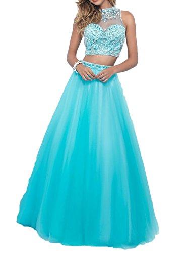 Partykleider Perlen Charmant Blau A Abendkleider teilig Prinzess linie Zwei Abschlussballkleider Damen Blau Rock pB1pra0