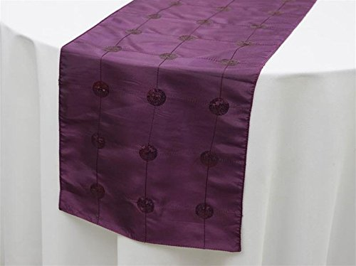 BalsaCircle 14 x 108-Inch Eggplant Purple Sequined Circles on Taffeta Table Top Runner - Wedding Party Event Reception Decorations -