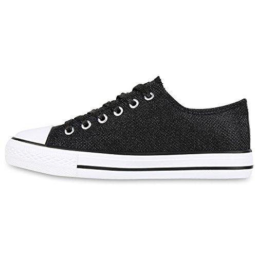 Stiefelparadies - Zapatillas Mujer Schwarz Glitzer