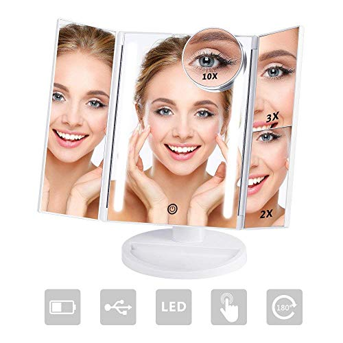 NEX Tri-Fold Lighted Vanity Makeup Mirror with 24 LED Lights, Touch Screen and 10X/3X/2X/1X Magnification Mirror, Two power Supply Mode Tabletop Makeup Mirror,Travel Cosmetic Mirror(White) by NEX