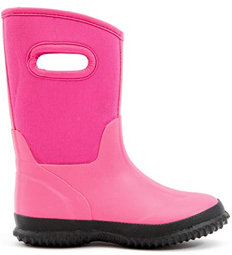 (MOFEVER Toddler Kids Girls Snow Winter Neoprene Rain Boots Rubber Waterproof Outdoor Shoes Thermal Memory Foam Comfortable Easy On and Off (Size 10,Pink))