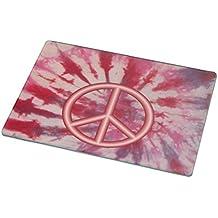 Rikki Knight RK-LGCB-959 Peace Logo on Red Tie Die Design Glass Cutting Board, Large, White