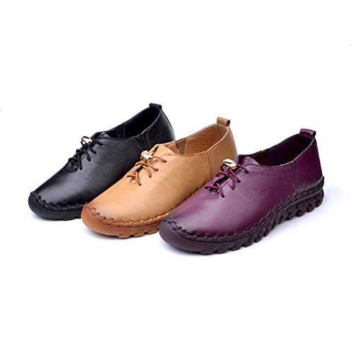 shoes bottom single leather women's slip comfortable soft Handmade shoes work FLYRCX bottom shoes with purple non platform bottom flat gCTqpPw