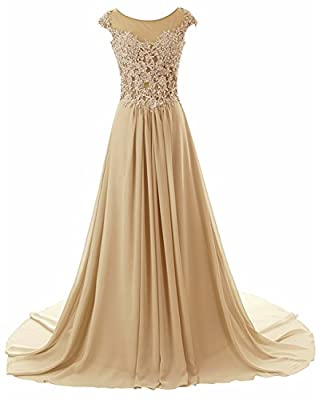 Prom Dresses Long Evening Gowns Lace Bridesmaid Dress Chiffon Prom Dress Cap Sleeve