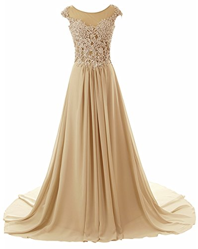 Prom Dresses Long Evening Gowns Lace Bridesmaid Dress Chiffon Prom Dress Cap Sleeve Champagne US18W